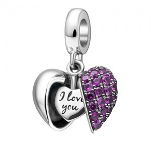 I Love You charm 100% Genuine 925 sterling Silver cuore di cristallo ciondoli Donna braccialetti
