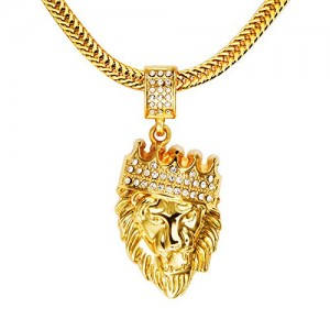 Wjkuku 18 K Diamond Crown Lion Head hip hop ciondolo collana