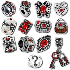 Red Valentines Pandora Style Birthstone Charms [12] European Antique Silver Crystal Rhinestone Bracelet Spacer Beads Bulk Lot of Twelve Spacers for